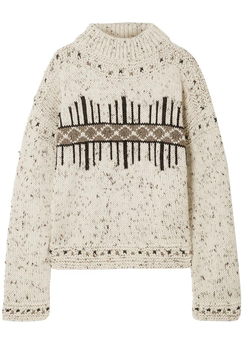 Isabel Marant Woman Elwyn Marled Intarsia Wool-blend Sweater Ecru