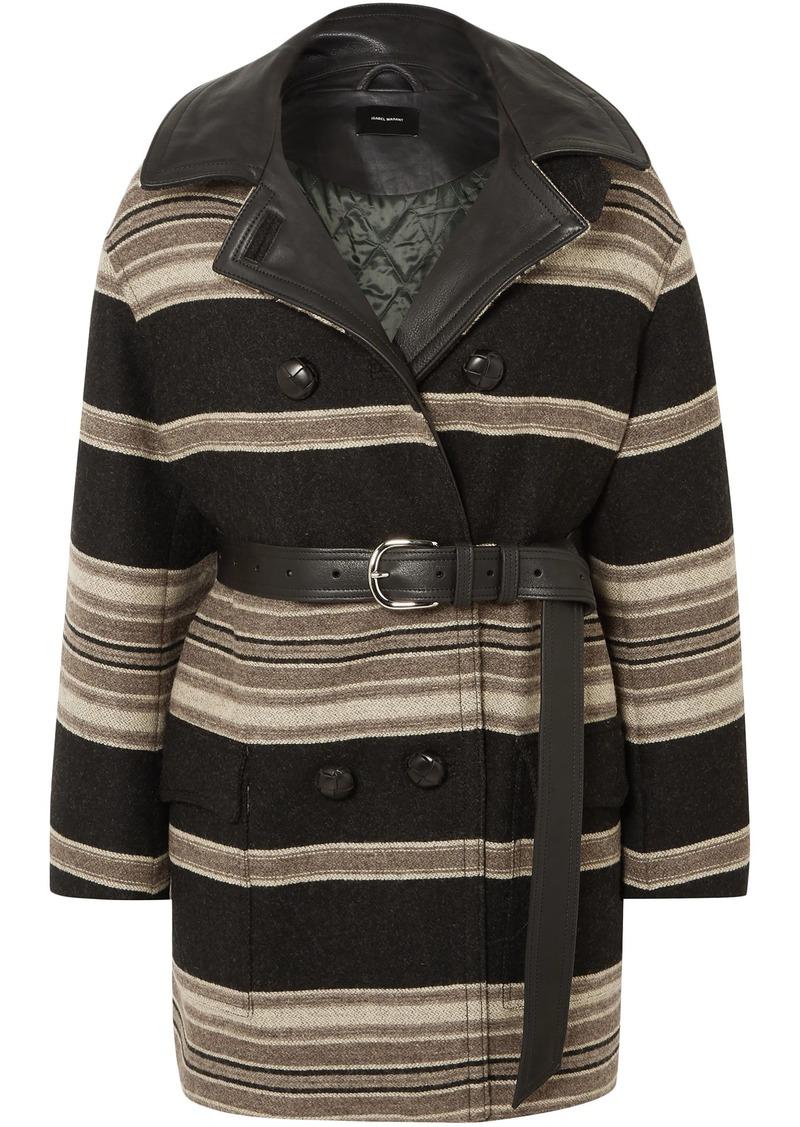 Isabel Marant Woman Hilda Belted Striped Wool-blend Coat Black