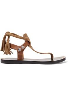 Isabel Marant Woman Jemma Leather-trimmed Tasseled Suede Sandals Mushroom