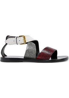 Isabel Marant Woman Juzee Studded Snake-effect And Smooth Leather Sandals Animal Print