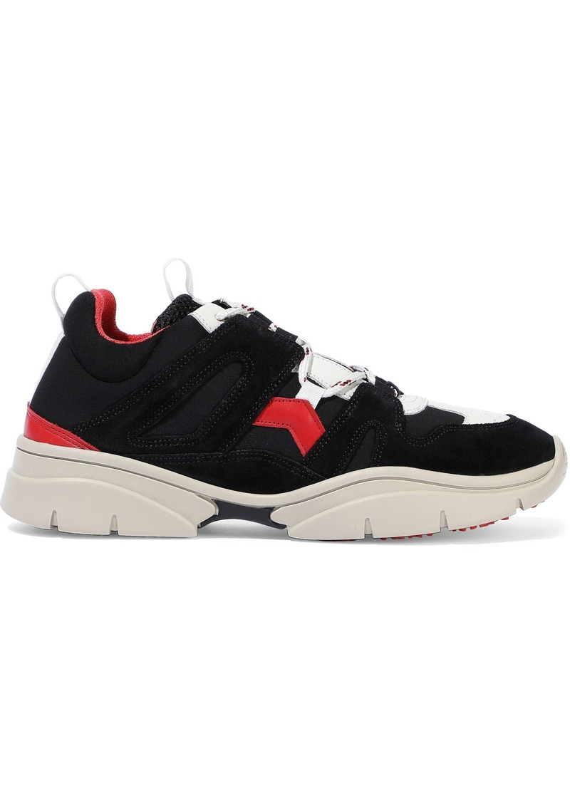 Isabel Marant Woman Kindsay Leather Suede And Neoprene Sneakers Black