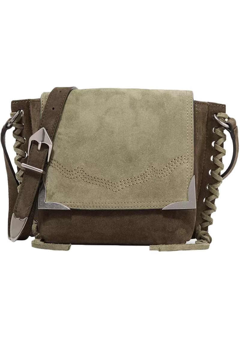 Isabel Marant Woman Kleny Whipstitched Two-tone Suede Shoulder Bag Leaf Green