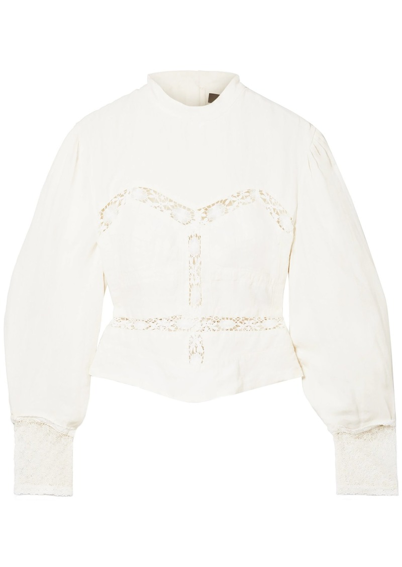 Isabel Marant Woman Lace-trimmed Linen Blouse Ecru