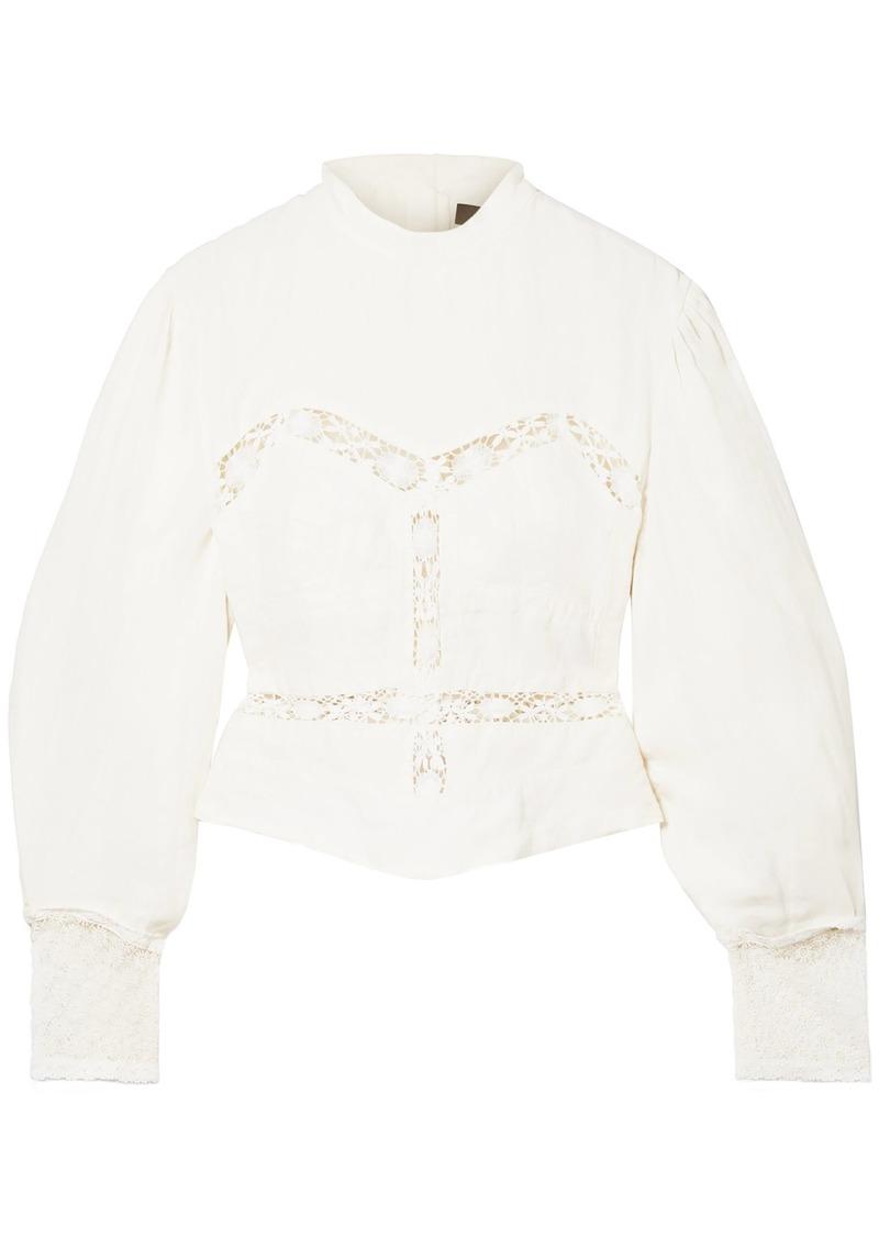 Isabel Marant Woman Lace-trimmed Linen Blouse Ecru