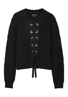 Isabel Marant Woman Lacy Lace-up Ribbed Cotton-blend Sweater Black