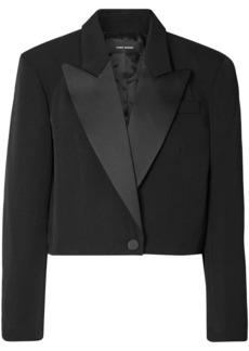 Isabel Marant Woman Lewin Cropped Satin-trimmed Wool-twill Blazer Black