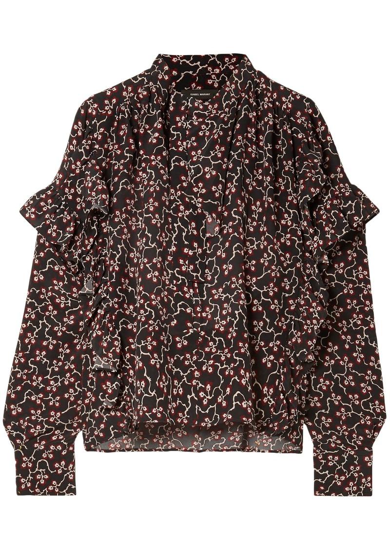 Isabel Marant Woman Libel Ruffled Printed Silk Crepe De Chine Blouse Black