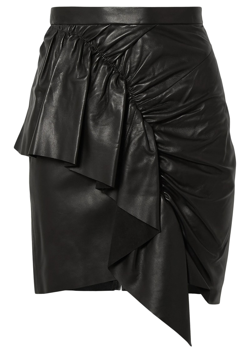 Isabel Marant Woman Nela Ruffled Leather Mini Skirt Black