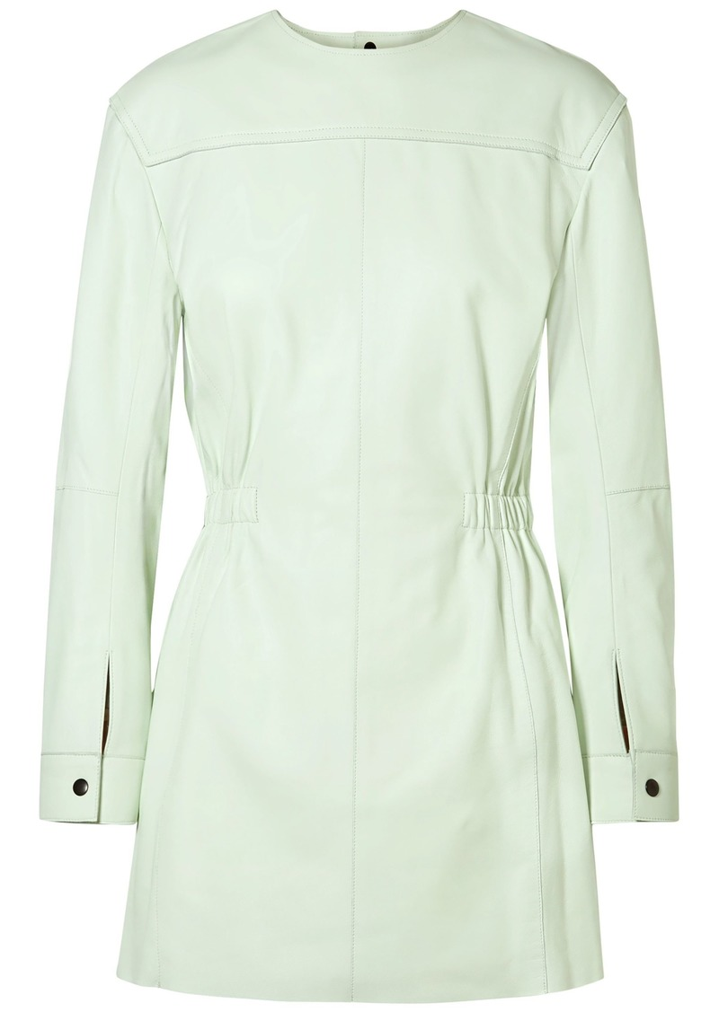 Isabel Marant Woman Nevans Leather Mini Dress Light Green