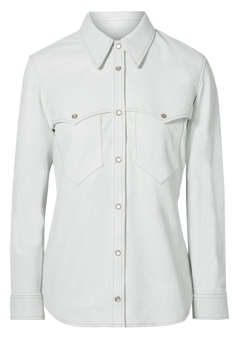 Isabel Marant Woman Nile Leather Shirt Ivory