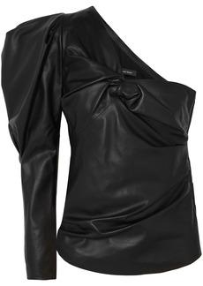 Isabel Marant Woman Noop One-shoulder Ruched Leather Top Black