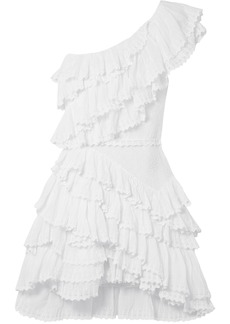 Isabel Marant Woman One-shoulder Tiered Cotton-broderie Anglaise Mini Dress White