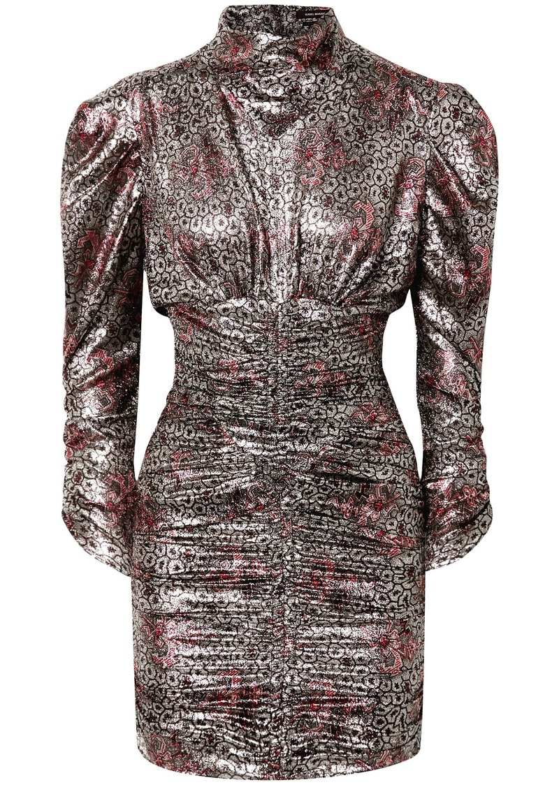 Isabel Marant Woman Pandor Ruched Printed Silk-blend Lamé Mini Dress Silver