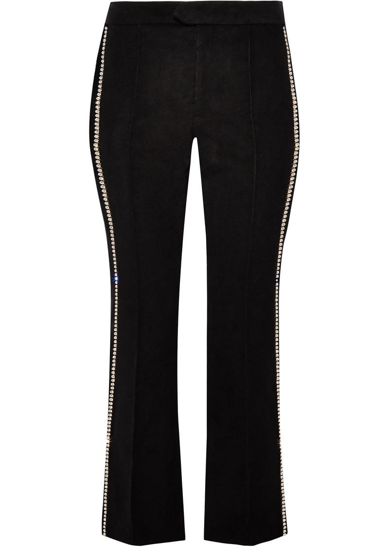 Isabel Marant Woman Philea Crystal-embellished Felt Slim-leg Pants Black