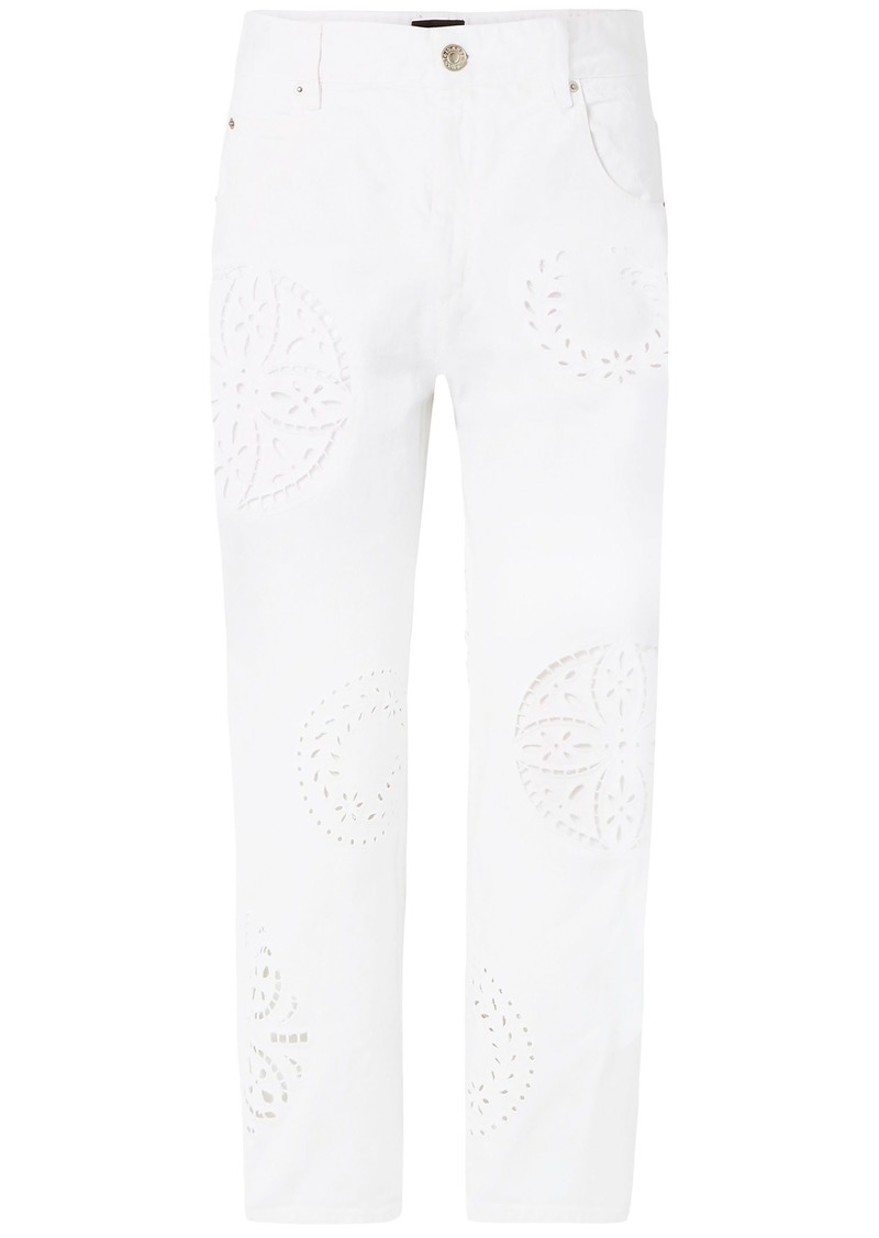 Isabel Marant Woman Ronny Broderie Anglaise-trimmed High-rise Straight-leg Jeans White