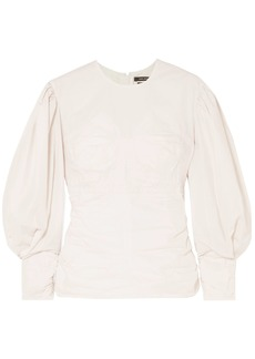 Isabel Marant Woman Ruched Cotton-poplin Top Off-white