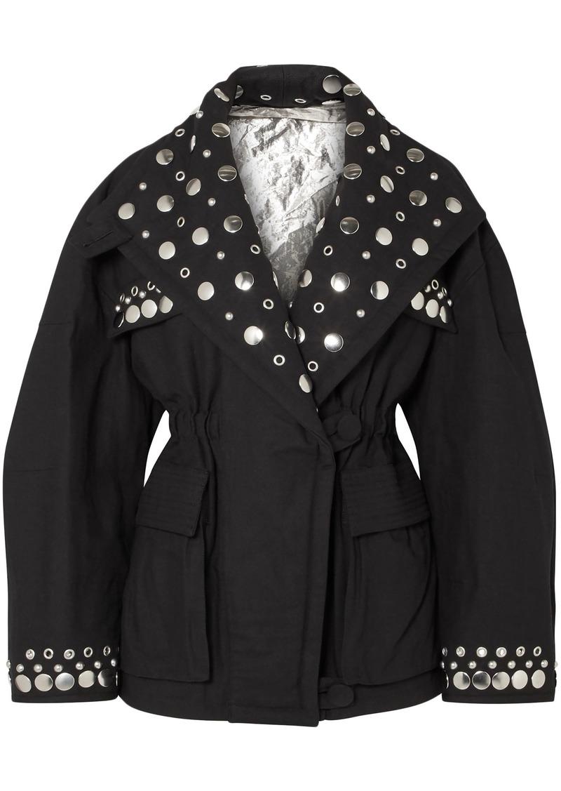 Isabel Marant Woman Studded Cotton-canvas Jacket Black