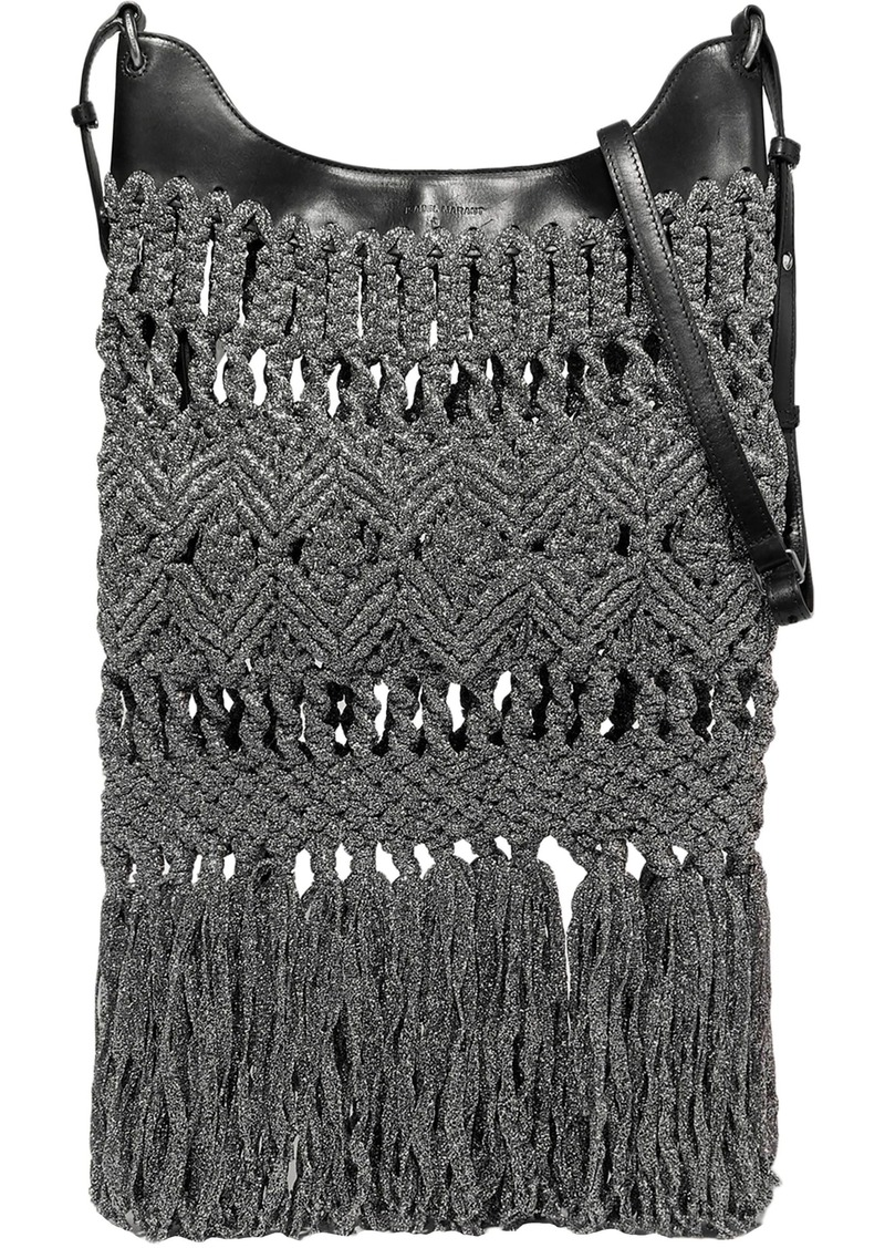Isabel Marant Woman Teomia Leather-trimmed Fringed Metallic Macramé Shoulder Bag Gunmetal