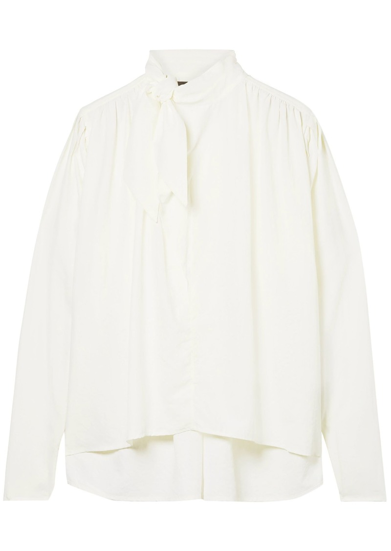 Isabel Marant Woman Tie-neck Washed-crepe Blouse White