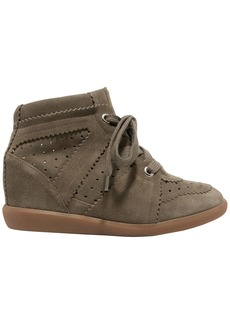 Isabel Marant Woman Étoile Bobby Perforated Suede Wedge Sneakers Army Green