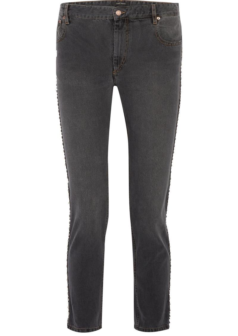 Isabel Marant Woman Ulyff Crystal-embellished High-rise Slim-leg Jeans Dark Gray