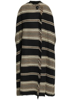 Isabel Marant Woman Wild West Frayed Striped Wool-blend Coat Black
