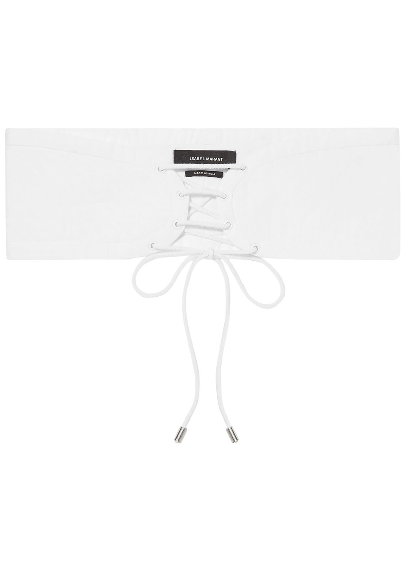 Isabel Marant Woman Zeonor Lace-up Quilted Cotton Waist Belt White