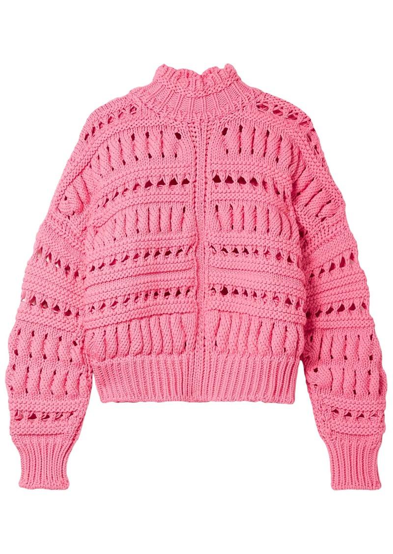 Isabel Marant Woman Zoe Oversized Open-knit Cotton-blend Turtleneck Sweater Pink