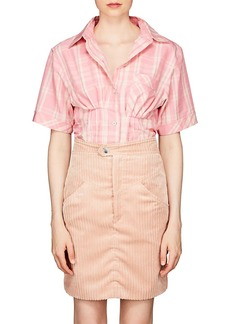 Isabel Marant Women's Emily Plaid Organza Fitted Blouse