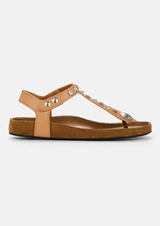 Isabel Marant Women's Enore Flower-Studded Leather Sandals
