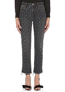 Isabel Marant Women's Ulano Rhinestone-Embellished Frayed Jeans