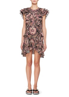 Isabel Marant Xanity Sleeveless Ruffled Cotton Mini dress with Grommet Trim