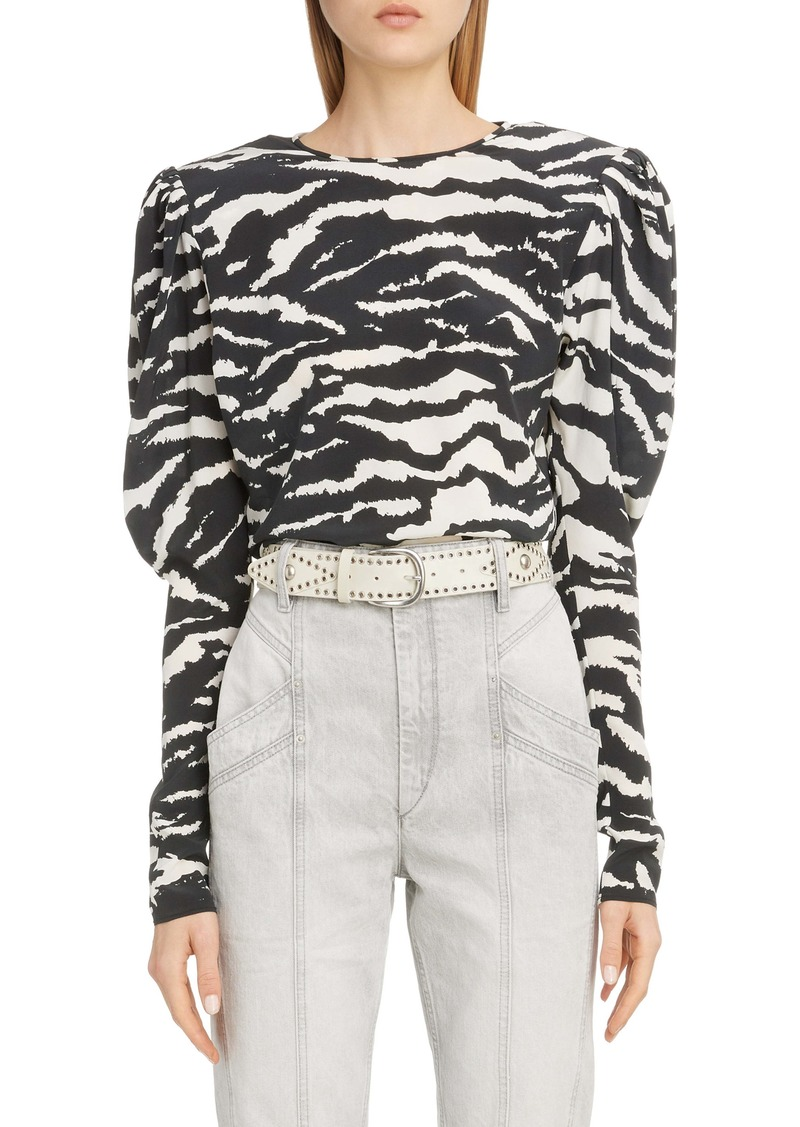 Isabel Marant Zebra Print Puff Sleeve Stretch Silk Blouse