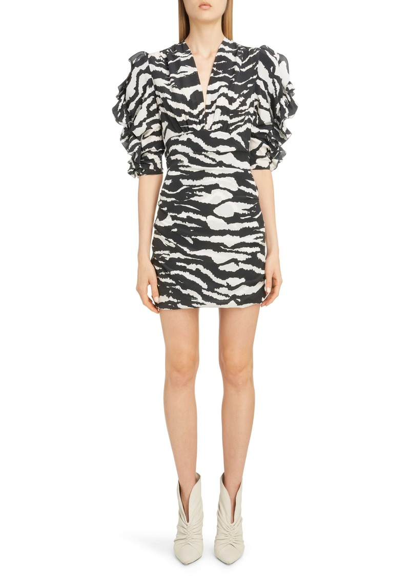Isabel Marant Zebra Print Puff Sleeve Stretch Silk Minidress