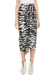 Isabel Marant Zebra Print Stretch Silk Drape Midi Skirt