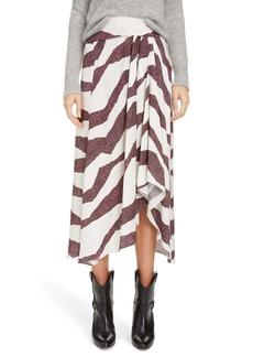 Isabel Marant Zebra Stripe Drape Detail Midi Skirt