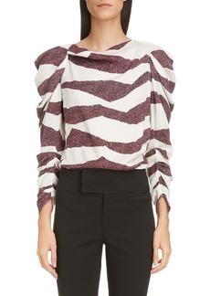 Isabel Marant Zebra Stripe Puff Shoulder Blouse