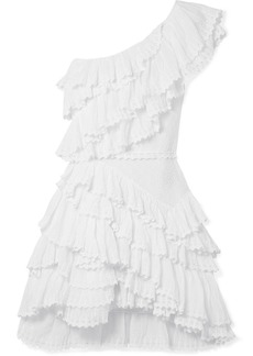 Isabel Marant Zeller one-shoulder ruffled broderie anglaise cotton mini dress