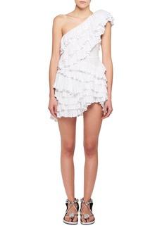 Isabel Marant Zeller One-Shoulder Tiered Ruffle Crochet Lace Mini Dress