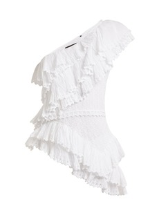 Isabel Marant Zellery one-shoulder broderie-anglaise cotton top