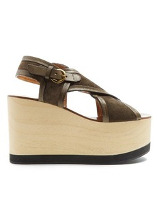 Isabel Marant Zlova cross-strap canvas wedges