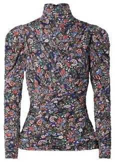 Isabel Marant Jalford Ruched Floral-print Stretch-jersey Turtleneck Top