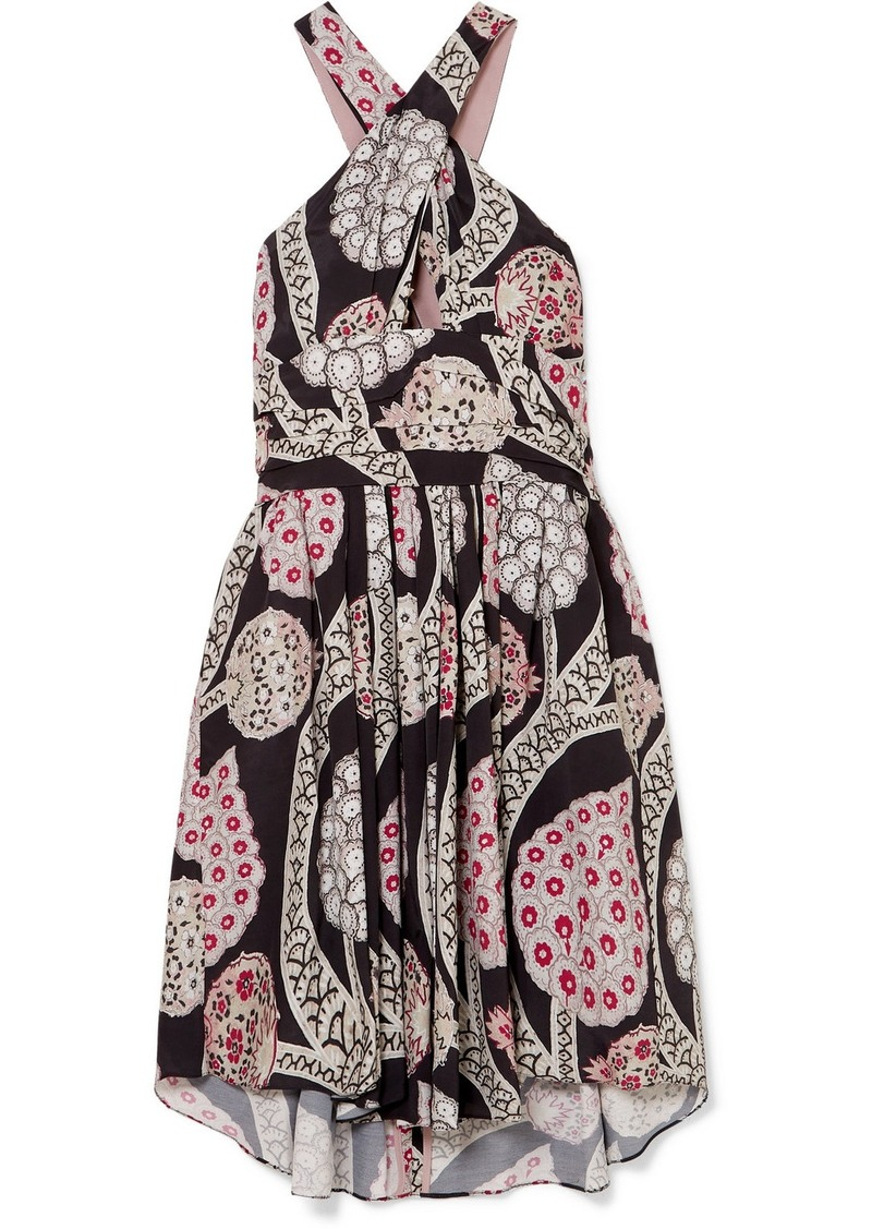 Isabel Marant Jan Printed Pleated Crepe Mini Dress