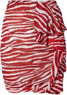 Isabel Marant Jerine Ruffled Zebra-print Chiffon Mini Skirt