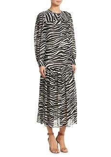 Isabel Marant Jina Long-Sleeve Zebra Midi Dress