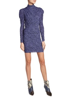 Isabel Marant Jisola Long-Sleeve Animal-Print Dress