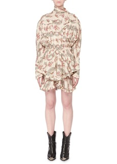 Isabel Marant Josephine Antique Floral-Print Tie-Neck Long-Sleeve Dress