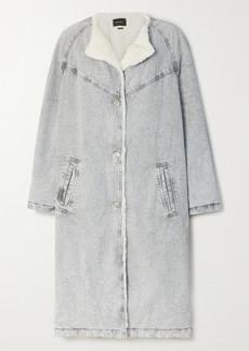 Isabel Marant Kaleia Oversized Faux Shearling-trimmed Denim Coat
