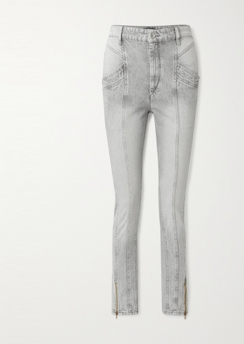 Isabel Marant Kelissa Paneled High-rise Straight-leg Jeans