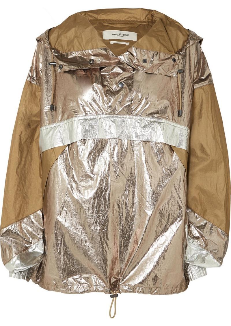 Isabel Marant Kizzy Paneled Metallic Shell Hooded Jacket